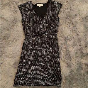 Loft black & cream print dress